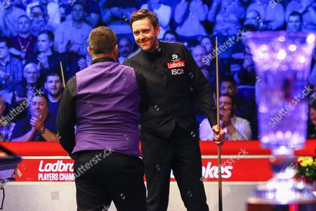 Ricky Walden concedes to Mark Allen during the Snooker Players Championship Final at EventCity, Manchester