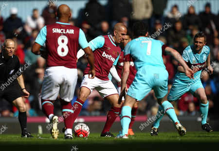 Paolo Di Canio of West Ham United All-Stars in action during todays match    during the Mark Noble Testimonial  match between West Ham United and West Ham United All Stars    played at Boleyn Ground , London on 28th March 2015