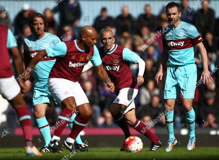 Paolo Di Canio of West Ham United All-Stars   during the Mark Noble Testimonial  match between West Ham United and West Ham United All Stars    played at Boleyn Ground , London on 28th March 2015