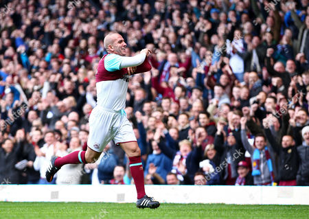 Paolo Di Canio of West Ham United All-Stars  celebrates  scoring a goal   during the Mark Noble Testimonial  match between West Ham United and West Ham United All Stars    played at Boleyn Ground , London on 28th March 2015
