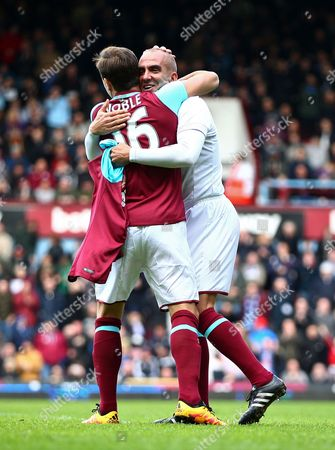 Paolo Di Canio of West Ham United All-Stars celebrates his goal with Mark Noble of West Ham United   during the Mark Noble Testimonial  match between West Ham United and West Ham United All Stars    played at Boleyn Ground , London on 28th March 2015