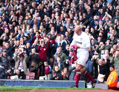 Paolo Di Canio of West Ham United All-Stars is applauded by fans after scoring a goal  from   during the Mark Noble Testimonial  match between West Ham United and West Ham United All Stars    played at Boleyn Ground , London on 28th March 2015