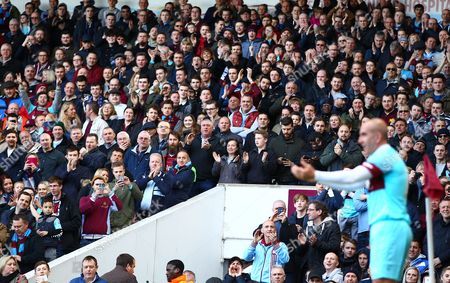 Paolo Di Canio of West Ham United All-Stars cheered up by West Ham fans   during the Mark Noble Testimonial  match between West Ham United and West Ham United All Stars    played at Boleyn Ground , London on 28th March 2015