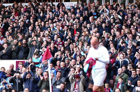 Paolo Di Canio of West Ham United All-Stars applauded by West Ham fans after scoring his goal   during the Mark Noble Testimonial  match between West Ham United and West Ham United All Stars    played at Boleyn Ground , London on 28th March 2015