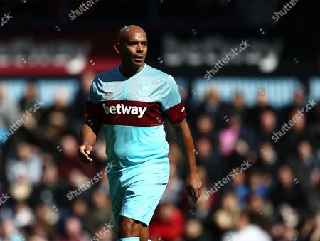 Trevor Sinclair of West Ham United All-Stars   during the Mark Noble Testimonial  match between West Ham United and West Ham United All Stars    played at Boleyn Ground , London on 28th March 2015
