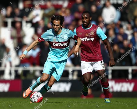 Yossi Benayoun of West Ham United All-Stars and Michail Antonio of West Ham United   during the Mark Noble Testimonial  match between West Ham United and West Ham United All Stars    played at Boleyn Ground , London on 28th March 2016