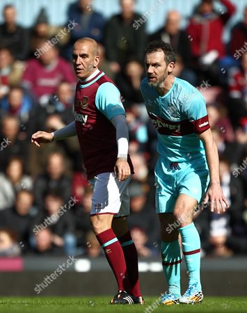 Paolo Di Canio of West Ham United All-Stars and Christian Dailly of West Ham United All-Stars   during the Mark Noble Testimonial  match between West Ham United and West Ham United All Stars    played at Boleyn Ground , London on 28th March 2016