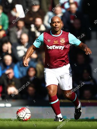 Trevor Sinclair of West Ham United All-Stars   during the Mark Noble Testimonial  match between West Ham United and West Ham United All Stars    played at Boleyn Ground , London on 28th March 2016