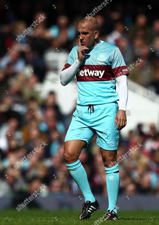 Paolo Di Canio of West Ham United All-Stars   during the Mark Noble Testimonial  match between West Ham United and West Ham United All Stars    played at Boleyn Ground , London on 28th March 2016