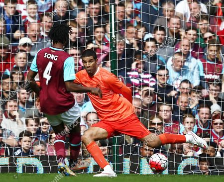 Alex Song of West Ham United scores past David James of West Ham United All-Stars   during the Mark Noble Testimonial  match between West Ham United and West Ham United All Stars    played at Boleyn Ground , London on 28th March 2016