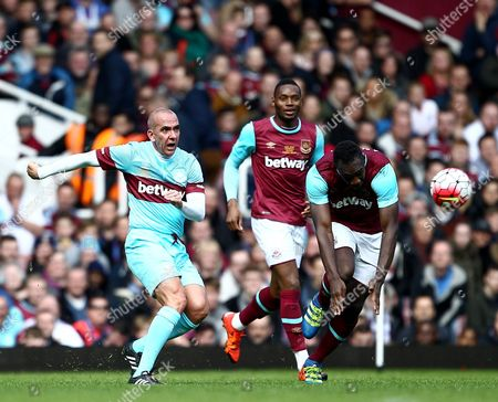 Paolo Di Canio of West Ham United All-Stars and Michail Antonio of West Ham United   during the Mark Noble Testimonial  match between West Ham United and West Ham United All Stars    played at Boleyn Ground , London on 28th March 2016