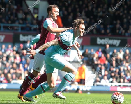Jack Collison for West Ham United All Stars holds of West Ham United's Mark Noble during Mark Noble Testimonial West Ham United v West Ham United All-Stars Monday at Upton Park Boleyn Ground London 