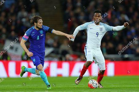 Daniel Sturridge of England and Daley Blind of Holland - England v Holland, UEFA International Friendly, Wembley Stadium, London. - 29 March 2016 Picture by Richard Calver