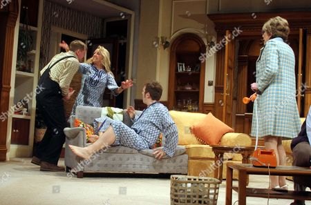 (L-R) Mathew Cottle as William Featherstone, Jason Merrells as BobPhillipsand  Gillian Wright as Mary Featherstone