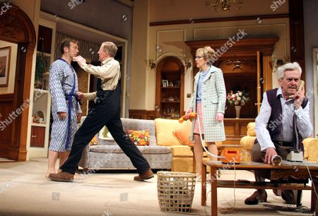 (L-R) Jason Merrells as BobPhillips, Mathew Cottle as William Featherstone, Gillian Wright as Mary Featherstone and Nicholas Le Prevost as Frank Foster