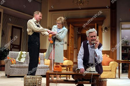 (L-R) Mathew Cottle as William Featherstone, Gillian Wright as Mary Featherstone and Nicholas Le Prevost as Frank Foster