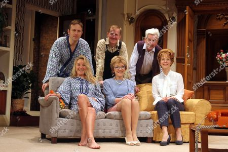 (L-R) Jason Merrells as Bob PHillips, Mathew Cottle as William Featherstone and Nicholas Le Prevost as Frank Foster, Tamzin Outhwaite as Teresa Phillips, Gillian Wright as Mary Featherstone and Jenny Seagrove as Fiona Foster