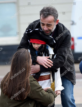 Michael LeVell (Kevin) and Brooke Vincent (Sophie) check Kyran Bowes (Jack) is ok