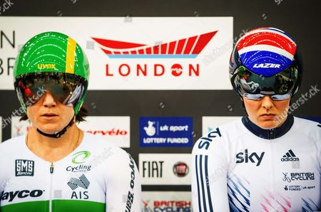 World Track Championships 03-3-16 to 06-03-16 London Olympic Park. Womens Sprint Austrailian Anne Meares (left) and Britain's Jessica Varnish (rt).