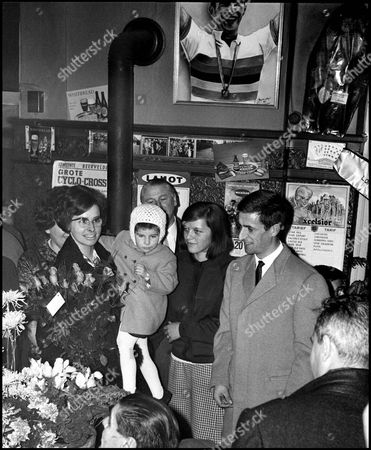 Tom Simpson World Road Race Champion, winner Giro di Lombardia, and Brussels 6 Day. Awarded Freedom of Gent. 1965 Helen Simpson (Baby Joanne) Cafe den Engel