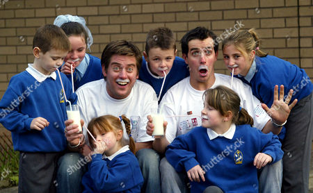 Dick ( Richard McCourt ) and Dom ( Dominic Wood ) with Calvin Kidson (7), Sian Bogan (8), Rebecca Reilly (6), Connor Kidson (9) Stephanie Gibson (9) and Kimberly Kidson (11)