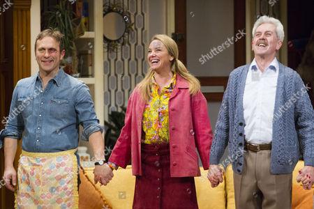 Jason Merrells (Bob Phillips), Tamzin Outhwaite (Teresa Phillips) and Nicholas Le Prevost (Frank Foster) during the curtain call