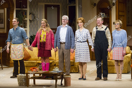 Stock Photo of Jason Merrells (Bob Phillips), Tamzin Outhwaite (Teresa Phillips), Nicholas Le Prevost (Frank Foster), Jenny Seagrove (Fiona Foster), Matthew Cottle (William Featherstone) and Gillian Wright (Mary Featherstone) during the curtain call