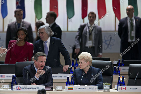 David Cameron, U.K. prime minister, left, talks to Dalia Grybauskaite, Lithuania's president, during a closing session Pictured in the background are US National Security Advisor Susan Rice and US Secretary of Energy Ernest Moniz.