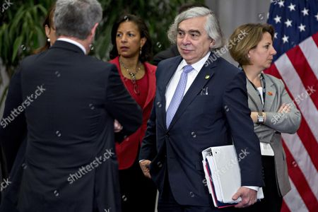United States Secretary of Energy Ernest Moniz, center, and Susan Rice, U.S. national security advisor, center left, arrive to the P5+1 multilateral meeting