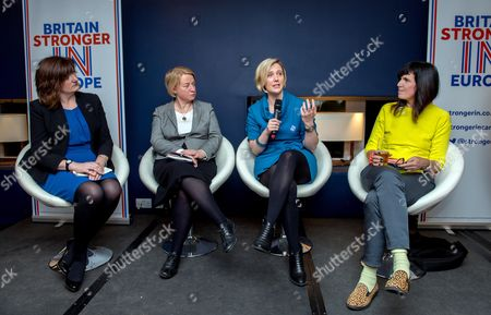 Nicky Morgan Secretary of State for Education and Green Party leader Natalie Bennettand Labour MP Stella Creasy and Catherine Mayer