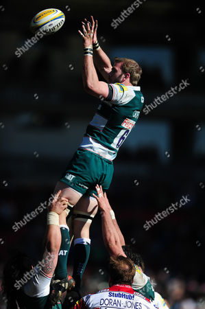 Tom Croft of Leicester Tigers wins the ball at a lineout