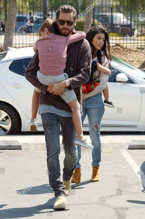 Scott Disick and Kourtney Kardashian with their children Penelope Disick and Mason Disick