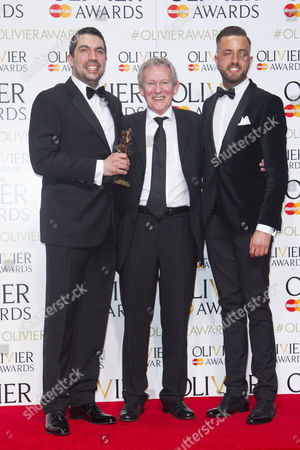 Tristan Baker and Paul Taylor Mills accept the award for Outstanding Achievement in Music, presented by Paul Copley, for In The Heights at King's Cross