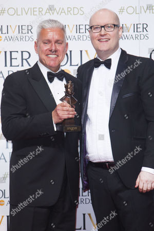 David Ian and Michael Harison accept the award for Best Musical Revival for Gypsy at the Savoy