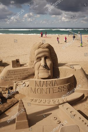 Gran Canaria. Las Palmas de Gran Canaria. Beautiful quality sand sculpture of Maria Montessori, the founder of the education method that bears her name, on the Playa de las Canteras on the eastern shore of Las Palmas de Gran Canaria.