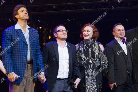 Michael Xavier (Joe Gillis), Lonny Price (Director), Glenn Close (Norma Desmond) and Stephen Mear (Choreographer) during the curtain call