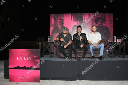 Alberto Cuevas, Mauricio Claveria, Pedro Frugone members of 'La ley', band promote the latest album 'Adaptacion' at Plaza Condesa