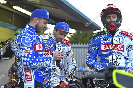 Hans Andersen ,Kyle Newman and Chris Holder of Poole Pirates during Poole Pirates vs Lakeside Hammers, Elite League Speedway at The Stadium on 6th April 2016