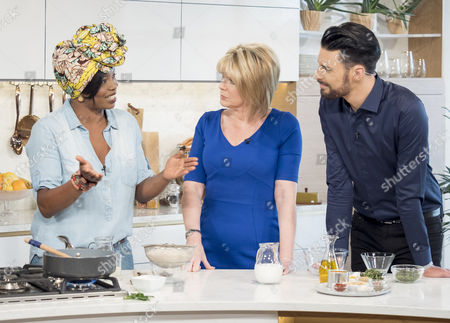 Stock Photo of Rylan Clark and Ruth Langsford with Fafa Gilbert
