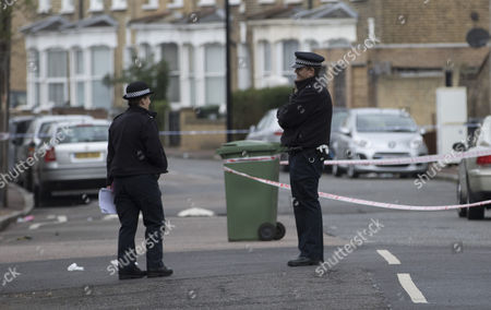 Stock Picture of Police on Camplin Street in South East London