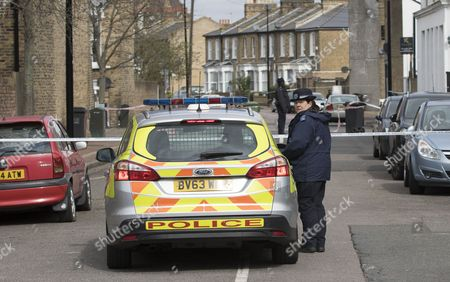 Stock Photo of Police on Camplin Street in South East London
