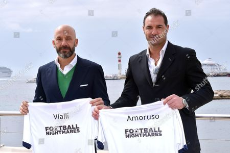 Gianluca Vialli and Lorenzo Amoruso during a photocall for the TV series 'Football Nightmares'