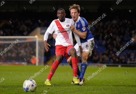 Yaya Sanogo of Charlton Athletic and Christophe Berra of Ipswich Town during the Sky Bet Championship match between Ipswich Town and Charlton Athletic played at Portman Road, Ipswich on April 5th 2016