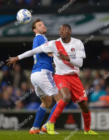 Tommy Smith of Ipswich Town and Yaya Sanogo of Charlton Athletic during the Sky Bet Championship match between Ipswich Town and Charlton Athletic played at Portman Road, Ipswich on April 5th 2016