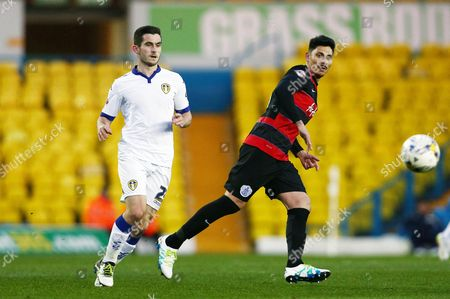 Alejandro Faurlin of QPR and Lewis Cook of Leeds United during the Sky Bet Championship match between Leeds United and QPR played at Elland Road, Leeds on April 5th 2016