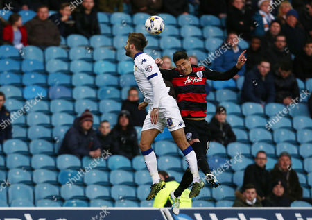 Alejandro Faurlin of QPR and Luke Murphy of Leeds United during the Sky Bet Championship match between Leeds United and QPR played at Elland Road, Leeds on April 5th 2016