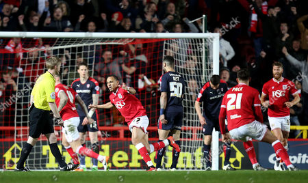 Peter Odemwingie of Bristol City celebrates scoring the equalising goal during the Sky Bet Championship match between Bristol City and Rotherham United played at Ashton Gate Stadium, Bristol on April 5th 2016