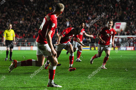 Peter Odemwingie of Bristol City celebrates his goal which makes it 1-1