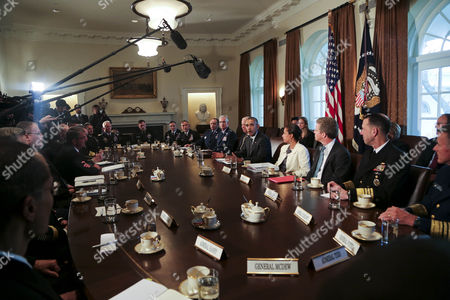 United States President Barack Obama meets with Combatant Commanders and Joint Chiefs of Staff with Vice President Joe Biden and US National Security Advisor Susan Rice in the Cabinet Room