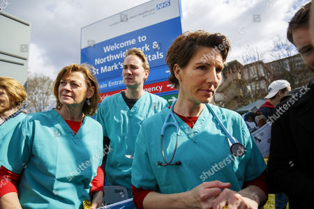 Cast of 'Green Wing' sitcom Pippa Haywood, Oliver Chris and Tamsin Greig join junior doctors of Northwick Park Hospital in north London at their picket line as junior doctors in England start the forth 48-hours strike in a dispute over pay, working hours and patient safety